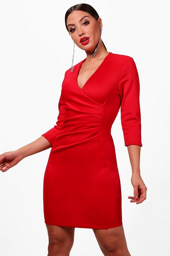 Anna Pleat Detail Wrap Dress