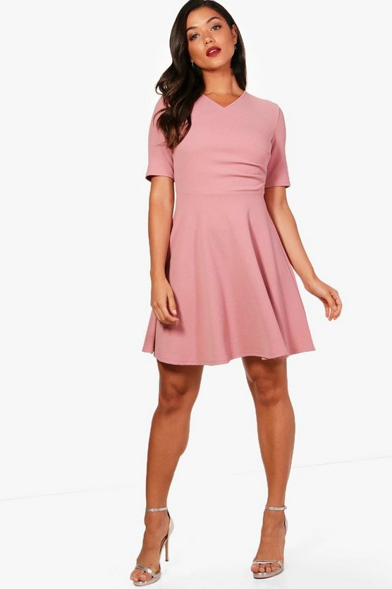 Ellen Short Sleeve Wrap Skater Dress