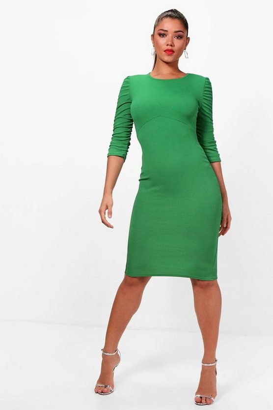 Ruched Sleeve Midi Dress