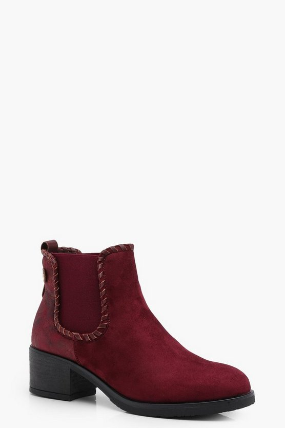 Mae Mixed Material Chunky Chelsea Boots