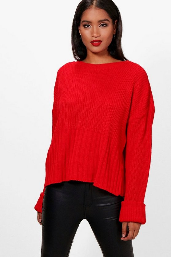 Hailey Turn Up Cuff Rib Edge Jumper