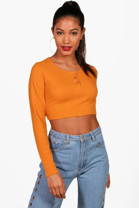 Rib Knitted Button Front Crop Jumper