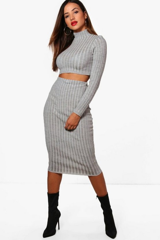 Milanna Rib Knit Turtle Neck T-Shirt Co-ord