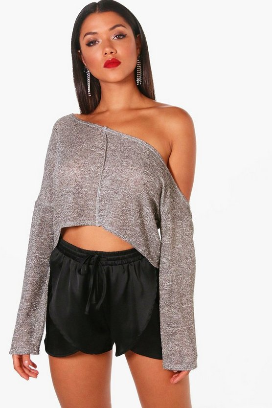 Metallic Off The Shoulder Crop Jumper