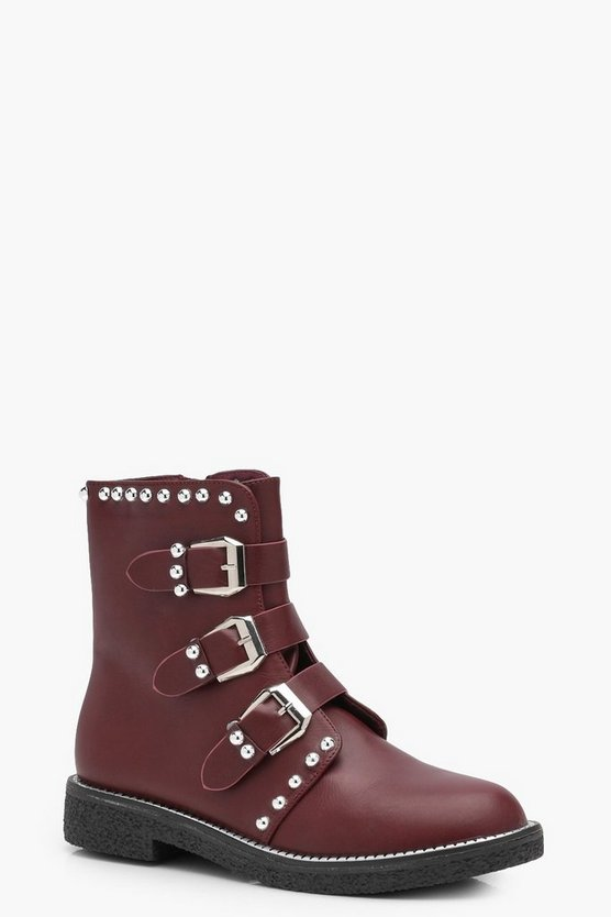 Ebony Stud Multi Strap Biker Boot