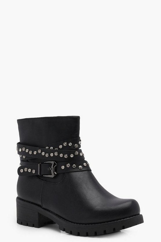 Cerys Stud & Diamante Wrap Strap Bikers