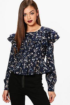 Und Knopfleiste Bluse mit Blumen-Print - Boohoo.com