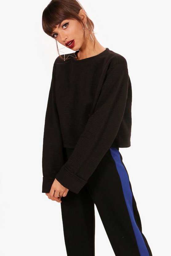 Marie Jumbo Rib Turn Back Cuff Sweat