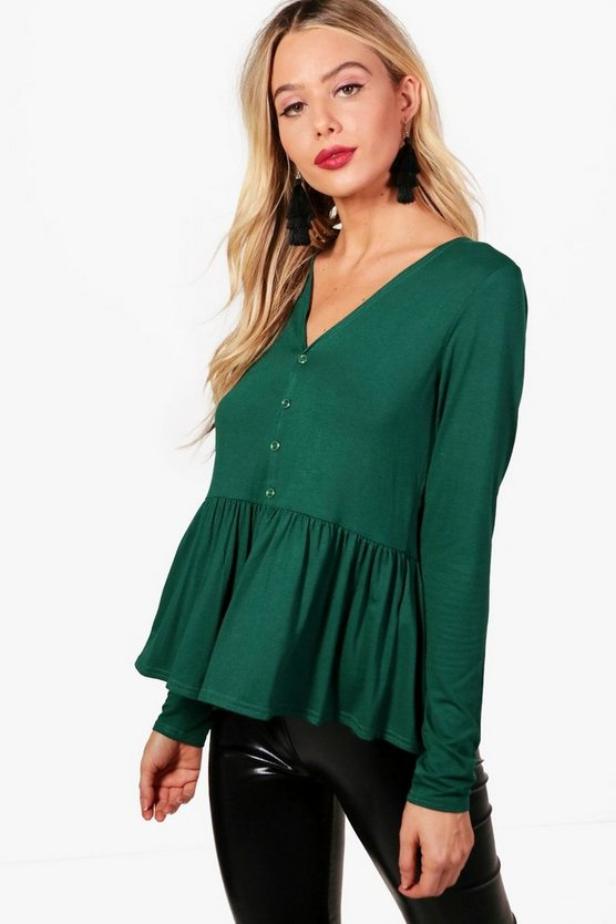 Button Down Peplum Top