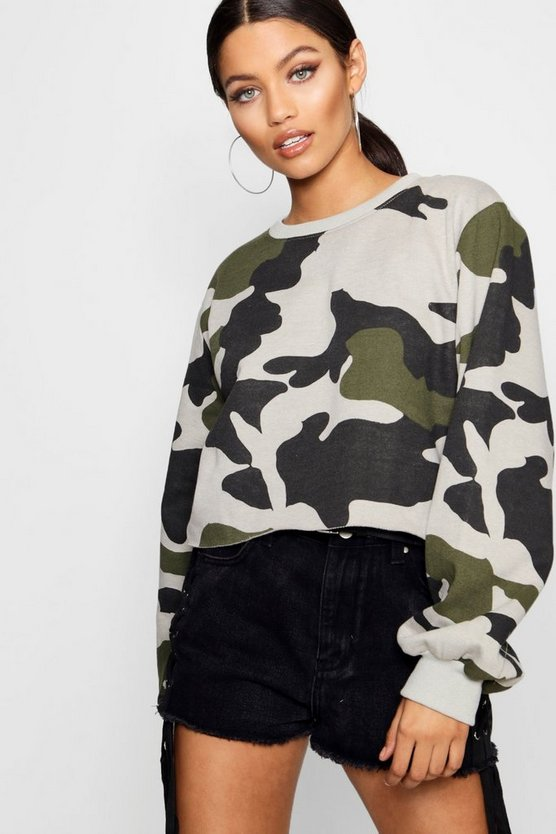 Lucie Balloon Sleeve Raw Hem Camo Sweat