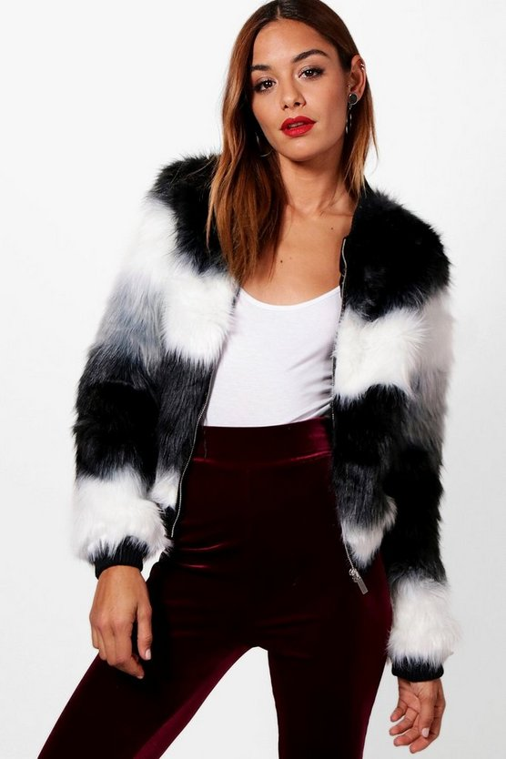 Jennie Panelled Faux Fur Bomber Jacket