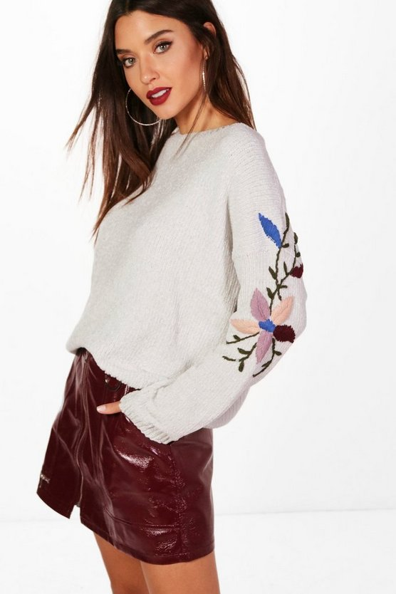 Soft Knit Embroidered Sleeve Jumper
