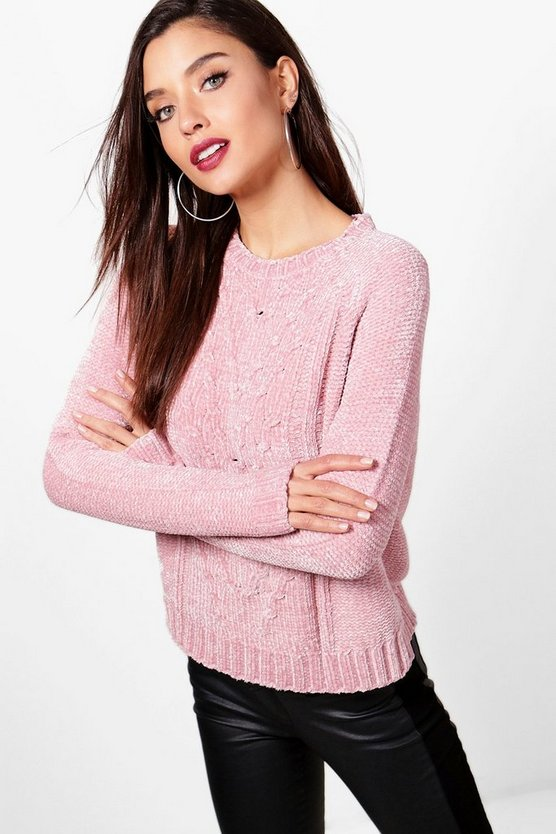 Cable Front Chenille Jumper