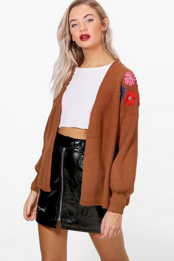 Becky Floral Bead Embroidery Knit Cardigan
