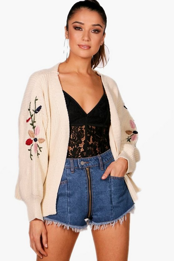 Puffed Sleeve Embroidery Cardigan