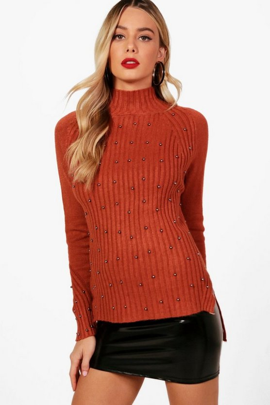 Annabelle Stud Detail Grown Neck Jumper