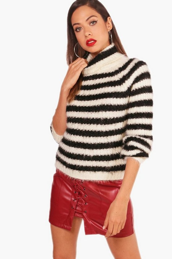 Fluffy Knit Stripe Polo Jumper