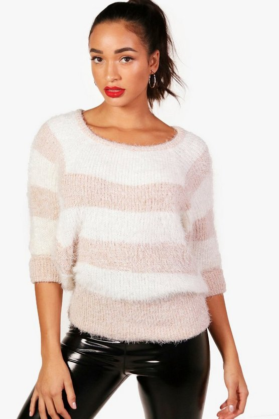 Fluffy Knit Batwing Stripe Jumper