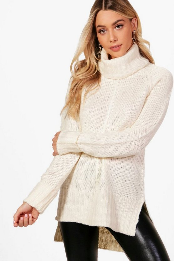 Ellie Roll Neck Jumper With Seam Detail