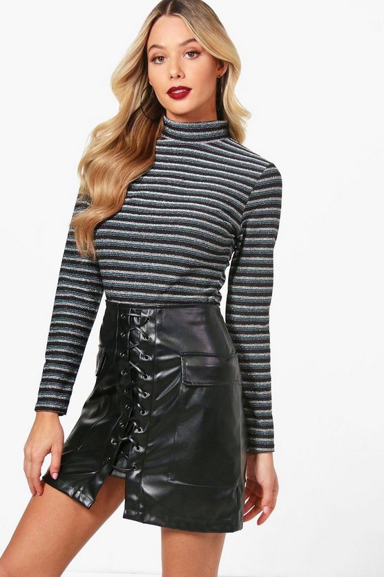 Jade Metallic Knitted Turtle Neck Top