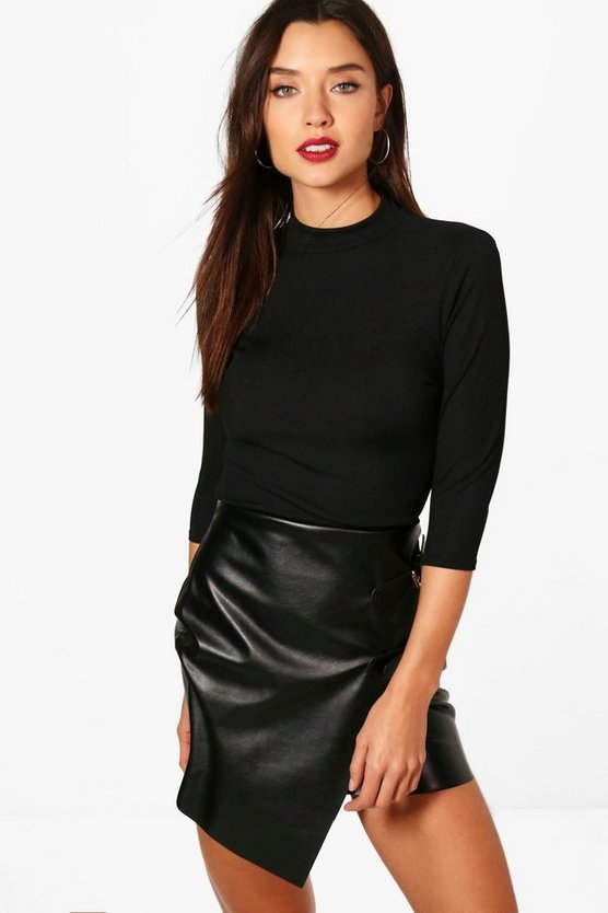 Becca Ribbed Half Sleeve Roll Neck Top