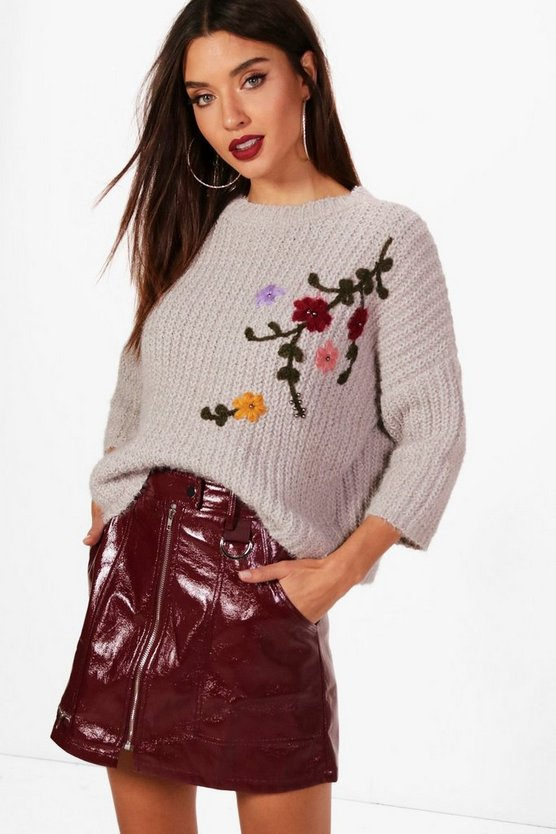 Embroidered Chenille Jumper