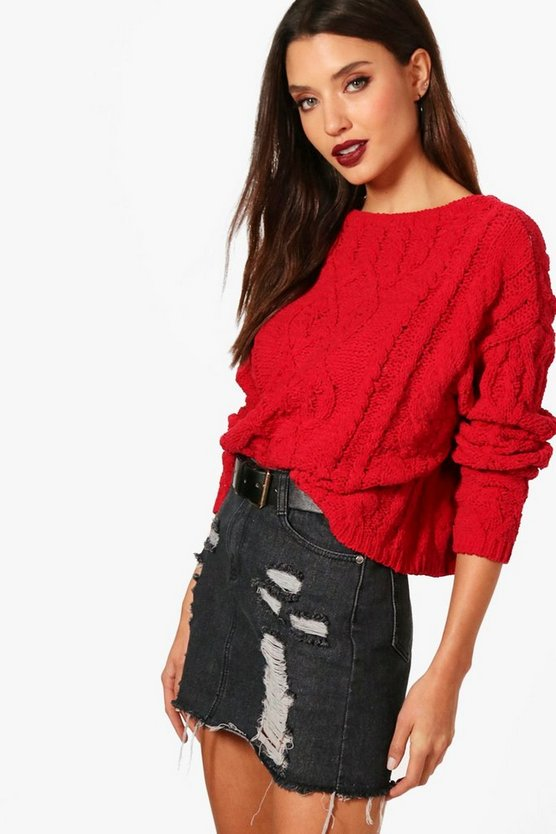 Hallie Chenille Cable Knit Jumper