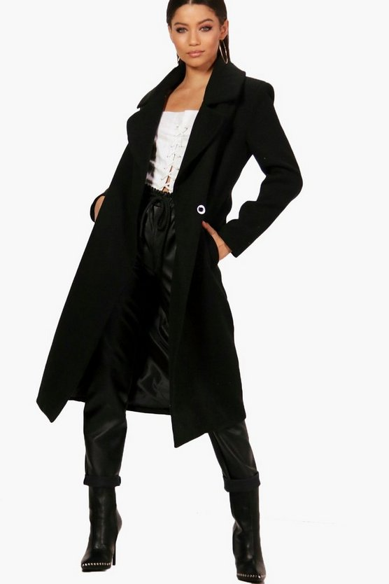 Saskia Oversized Collar Wool Look Coat