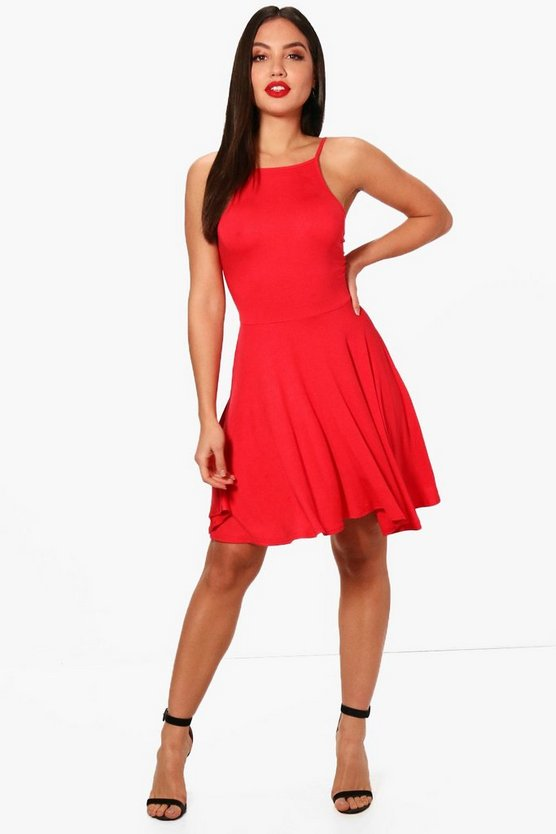 Soph Square Neck Low Back Skater Dress
