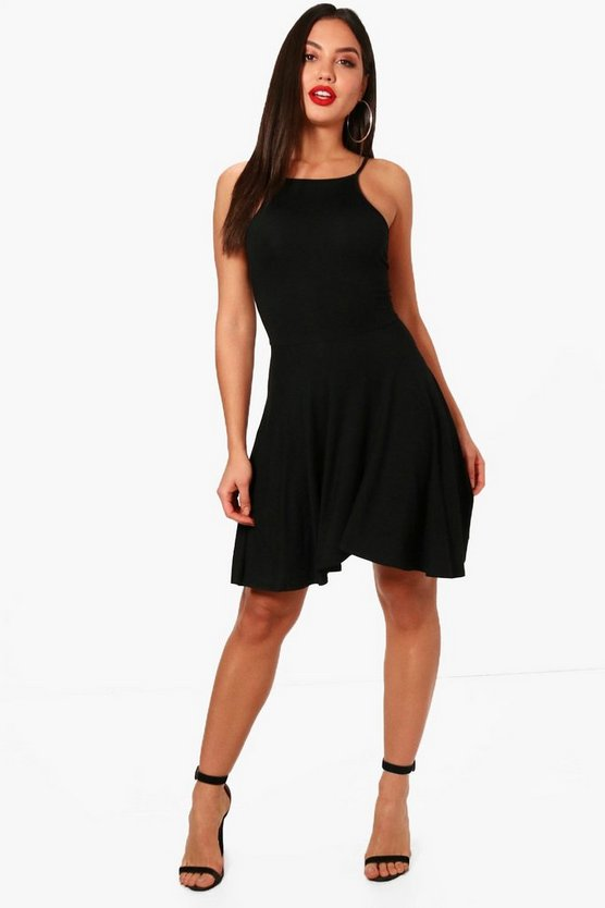 Mia Square Neck Low Back Skater Dress