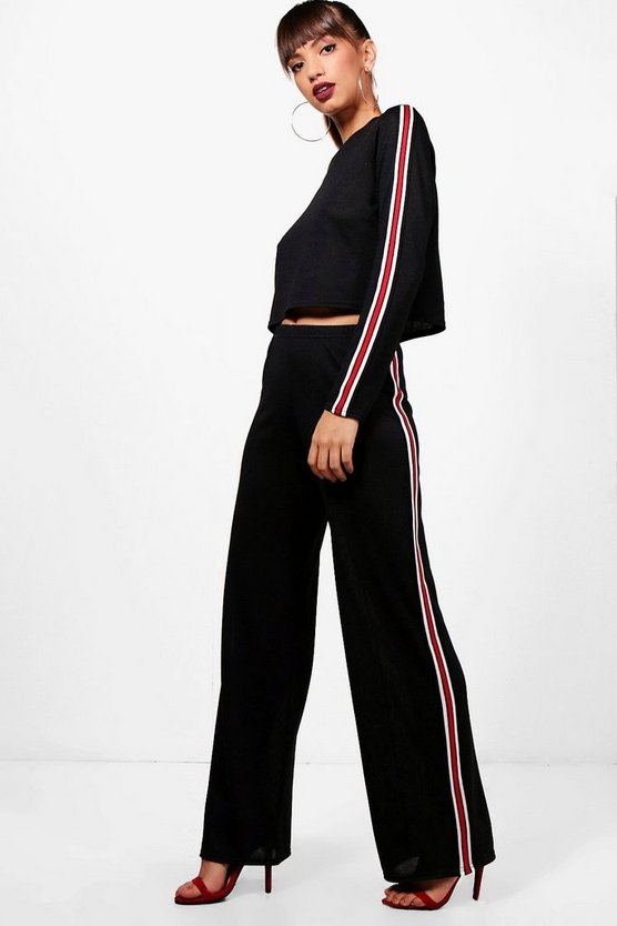 Mila Sport Stripe Wide Leg Knitted Lounge Set