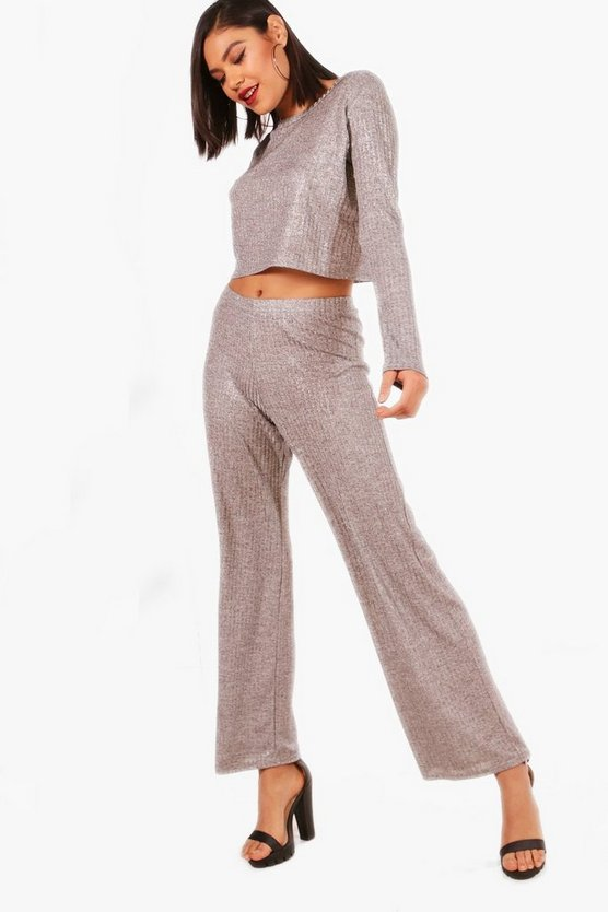 Metallic Rib Knit Lounge Set