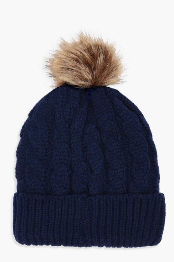 Alice Cable Knit Faux Fur Pom Beanie