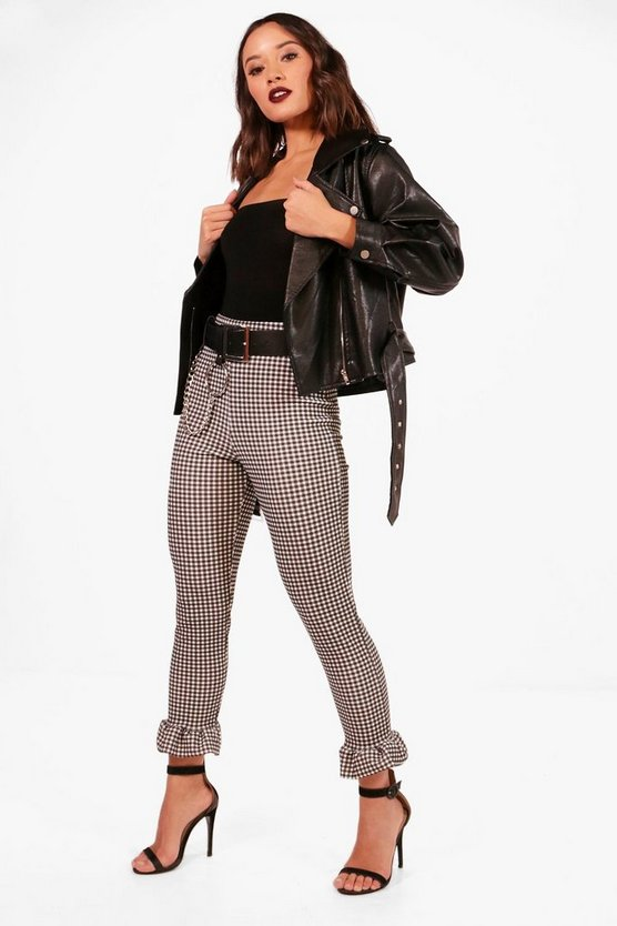 Nicky Ruffle Hem Gingham Check Leggings