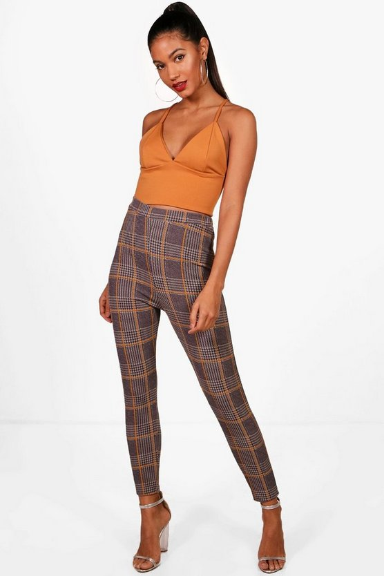 Saffy Large Check Crepe Highwaist Leggings