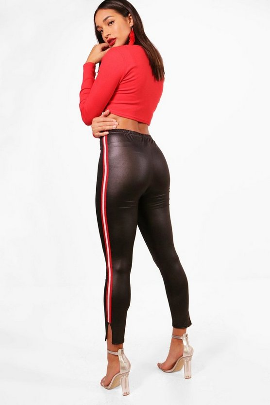 Mollie Split Hem SPorts Stripe Wet Look Leggings