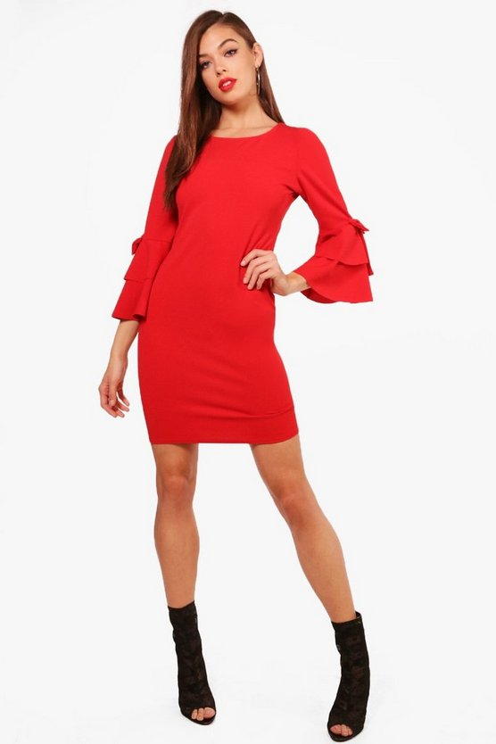 Nancy Ruffle Sleeve Bow Dress