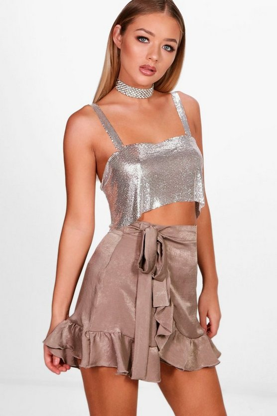 Tali Tie Waist Wrap Ruffle Sateen Mini Skirt