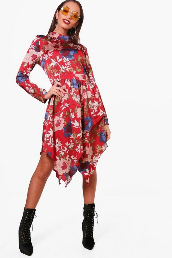Brooke High Neck Long Sleeve Midi Dress