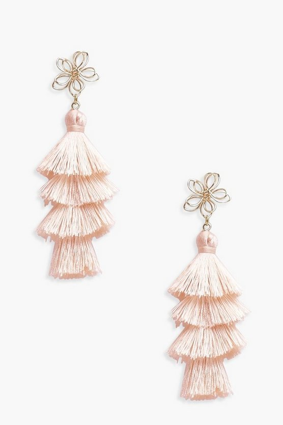 Sophie Flower Top Tiered Tassel Earrings