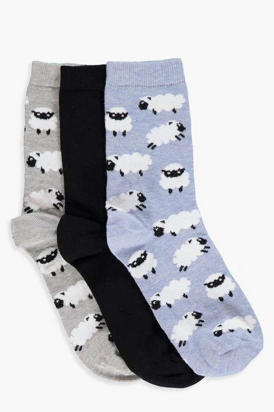 Sophie 3 Pack Sheep Ankle Socks