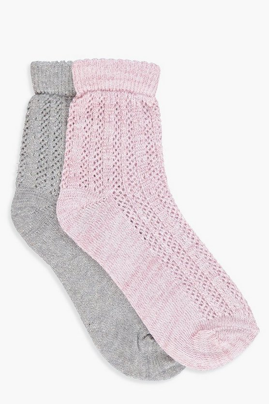 Sarah 2 Pack Glitter Pointelle Ankle Socks