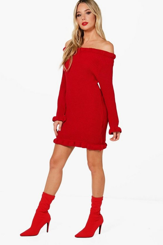 Ruffle Hem Knitted Dress