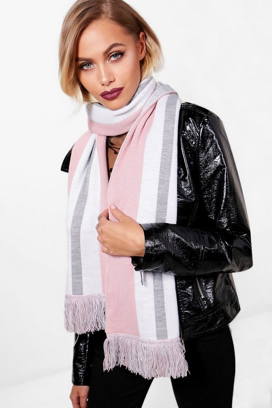 Lacey Striped Knitted Scarf