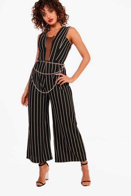 Winnie Stripe Mesh Detail Jumpsuit