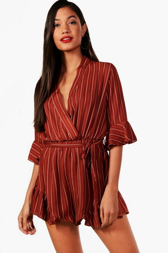 Striped Wrap Flare Sleeve Playsuit