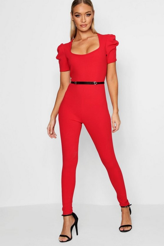 Square Neck Puff Sleeve Belted Jumpsuits