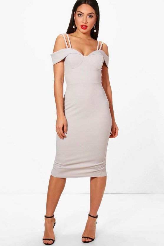 Abigail Strappy Cold Shoulder Midi Dress