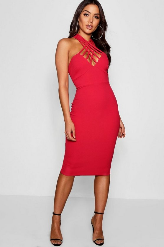 Multi Strap Neck Midi Dress