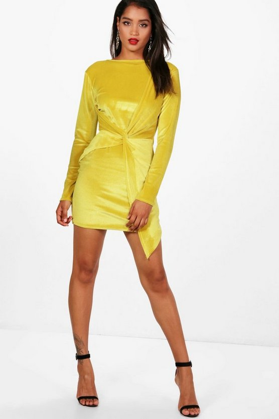 Melli Long Sleeve Velvet Bodycon Mini Dress
